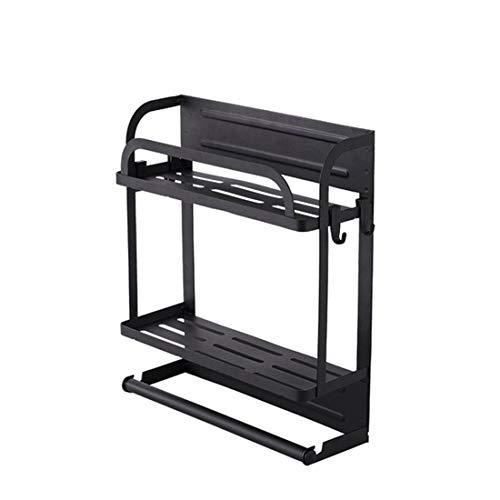 JYQ-SZRQ Especiero Magnético para Nevera Organizador De Refrigerador, Estante Lateral para Colgar, Soporte De Rollo De Cocina, Papel para Refrigerador, Negro(Size:2-Tiers)