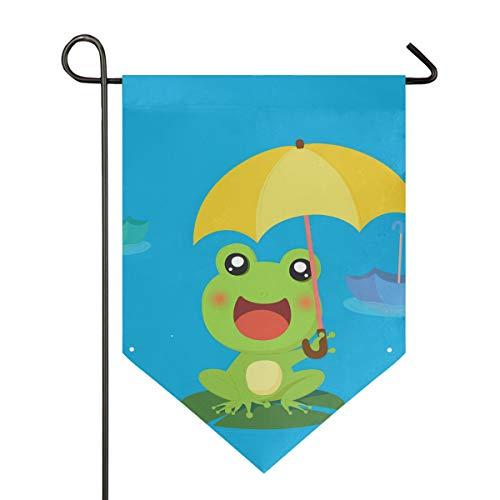 FANTAZIO Kikker Met Paraplu Tuinvlaggen Premium Kwaliteit Yard Vakantie en Seizoensgebonden Decoratieve Vlaggen Outdoor Decoratieve Vlaggen - Dubbelzijdig 28x40in 1 exemplaar