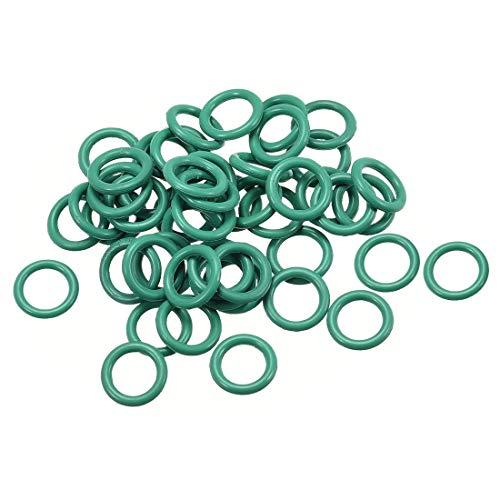 uxcell Fluor-Gummi-O-Ringe, 6 mm Außendurchmesser, 4 mm Innendurchmesser, 1 mm Breite, FKM-Dichtung für Fahrzeugmaschinen, Sanitär, Grün, 50 Stück