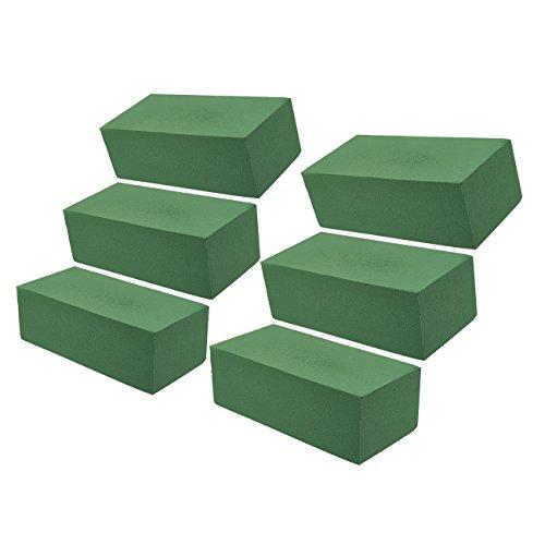Blocco di Spugna per Fiori - 6 Pezzi - Blocco di Schiuma Bagnata per Fioristi, Fornitura di Schiuma Verde per Disposizione Fiori, 22,9 x 10,2 x 7,6 cm