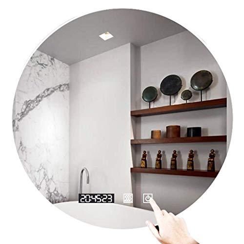 XLTFZY Espejo, Espejo de Maquillaje, Espejo de Baño, Espejo de Escritorio, Espejo Montado en la Pared Redondo Led Luz Iluminada con Interruptor de Sensor Táctil para Vanidad, Dormitorio/a/60Cm (23.6I