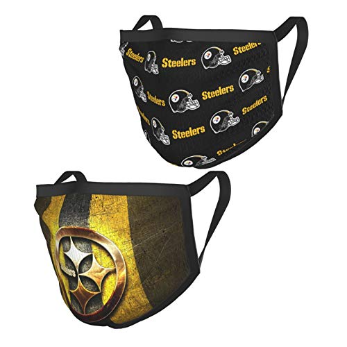 2Pcs P-itt-sbu-rgh St-ee-le-rs Football Bandanas Face-Mask Headwear Balaclava Face Cover Neck Gaiter for Outdoors, Sports