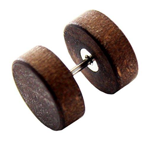 eeddoo Ohrstecker Fake-Plug Braun Ahorn-Holz 6 mm