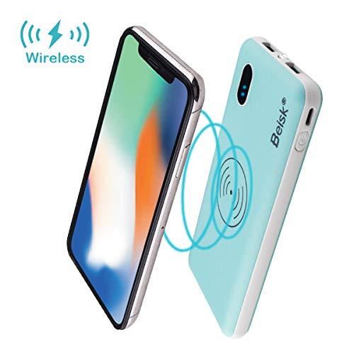 Beisk Power Bank Wireless 2 in 1 draadloze powerbank met 2 ingangen USB en 2 uitgangen 10000 mAh capaciteit draagbare oplader voor iPhone, Samsung, Huawei en meer smartphones met draadloze oplaadfunctie (draadloze oplader). geel.