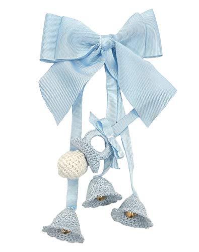 Campanillas de Crochet para carrito de bebé decorativas con cascabeles (Azul)