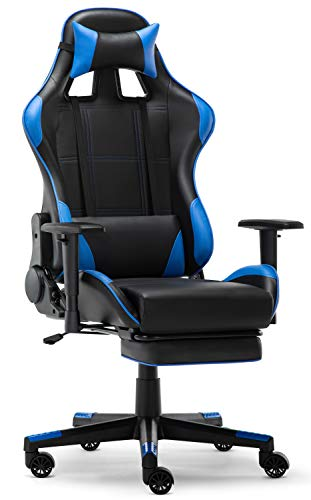 IntimaTe WM Heart Silla Gaming, Silla Gamer con Reposapies Silla Escritorio Giratoria Altura Ajustable Respaldo Inclinable hasta 135 ° PU (Azul)