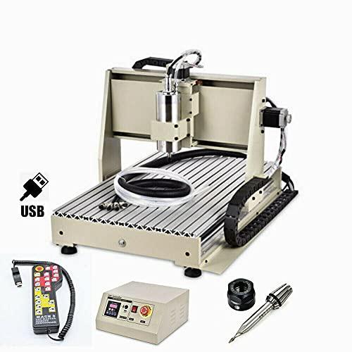 CNC fresatrice a 3 assi 6040 macchina per incisioni USB Router Engraver Kit attrezzi per incisione, motore mandrino VFD 1.5KW + scatola di controllo + ruota manuale (3 AXIS)