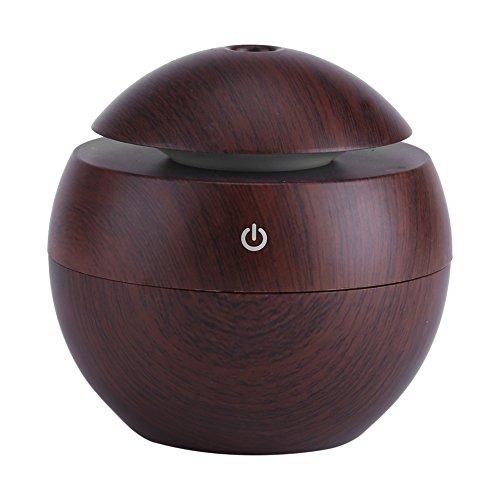 Humidificador de Aroma, Purificador de Aire Difusor de Aceite Esencial de 130 ml USB con LED de Cambio de Color para la Oficina del Dormitorio(marrón)