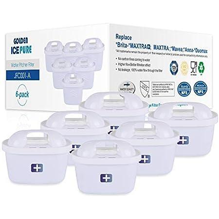 GOLDEN ICEPURE Filtro de Agua de Repuesto para Brita Maxtra+, Brita Maxtra, Mavea, Anna Duomax (6 Unidades) (6)