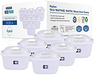 GOLDEN ICEPURE Remplacement du Filtre à Eau pour Brita Maxtra+, Brita Maxtra, Anna Duomax Lot de 6 de (Facture Disponible)...