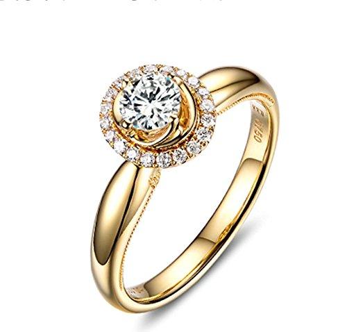 AnaZoz Echtschmuck Damen-Ring 18K Gold Verlobugnsringe, Diamant Stein 0,5 Karat D-E SI, Verlobungsringe für Frauen Größe 59