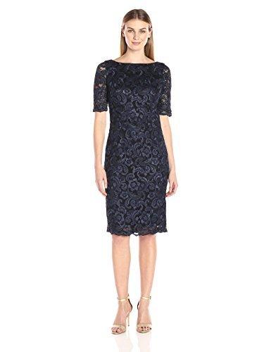 Eliza J Women's Lace Midi Sheath Dress, Navy, 12