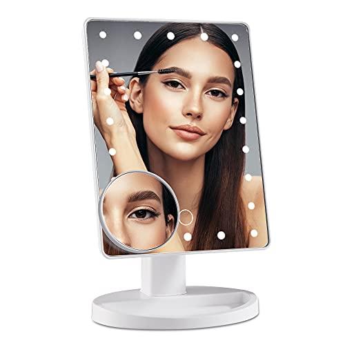 DUFU Espejo Maquillaje con Luz de 22 LED Ajustable y Aumento 10X Espejo de Tocador,con Pantalla Táctil y Rotación de 180° Espejo Cosmético LED, Fuente de Alimentación Doble,Blanco