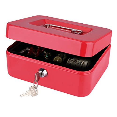 Cash Box, LeHatori Large Money Safe Key Lock Box with Money Tray Portable Metal Cash Registers Security Storage Bill Coin Container with Carry Handle (8 Inch)