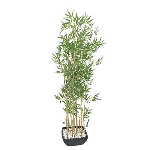 artplants.de Bambú Artificial en Cuenco Decorativo, Troncos claros, 150cm - Planta Artificial - cañas