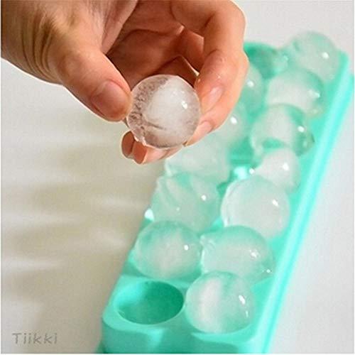 FUHUA Eiswürfelschale Kunststoff 14 Gitter 3D Runde Eisball Maker Globe Form Gefrorene Form Eiswürfel EIS am Stiel Maker Küchenformen
