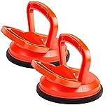 EXLECO 2x Ventosa para Cristal 118mm Ventosa Coche Abolladuras Capacidad de 50Kg Ventosa de Vidrio Naranja Ventosa de Vacío