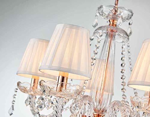 Saint Mossi Moderne Kristallglas Kronleuchter Beleuchtung Deckenleuchter Lampe 5 Arme mit E14 Sockel Rose Gold Finish Stoffschirme - 5