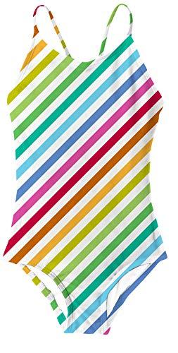 RAISEVERN Ein Stück Badeanzug Mehrfarben,Colorful Stripe,7-8Jahre (Etikette L)