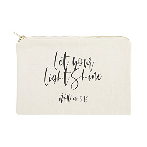 Let Your Light Shine, Matthew 5:16 Religious Bible Verse Cosmetic Bag, Makeup and Travel Pouch