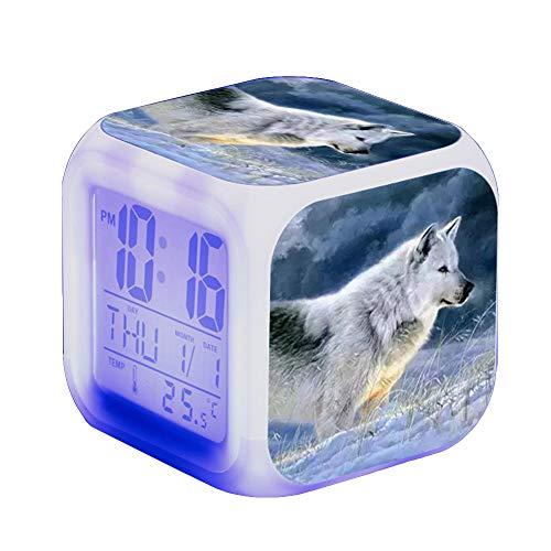 Wolf Wecker Kinder Wecker LED Night Nachttischwecker Quadrat Beleuchteter LCD Uhr Wake Up Wecker Geschenk Muster Wolf (#16)