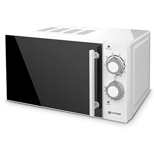 Grunkel - MWG-20SF - Microondas con Grill Blanco de 20 litros de Capacidad, 5 Niveles de Potencia y 3 de Combinado. Función descongelación y Temporizador hasta 30 Minutos - 800W - Blanco