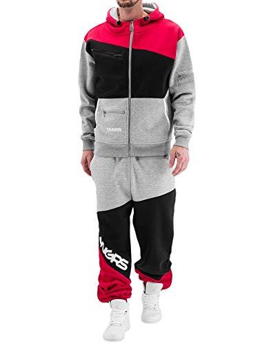 Dangerous DNGRS Herren Jogging Anzug Hose Sweat Suit Marne Freizeit Kombi, Farben:Rot, Größe Hosen:M