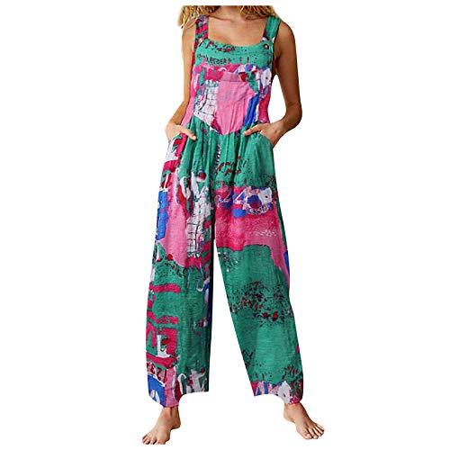 I3CKIZCE Peto Pantalones para Mujer Lino Largo Mono Largo para Mujer Boho Estampados Abstracto Estilo Casual Pantalones Largos Pierna Suelta de Mujer con Correas Bolsillos Laterales (Verde, L)