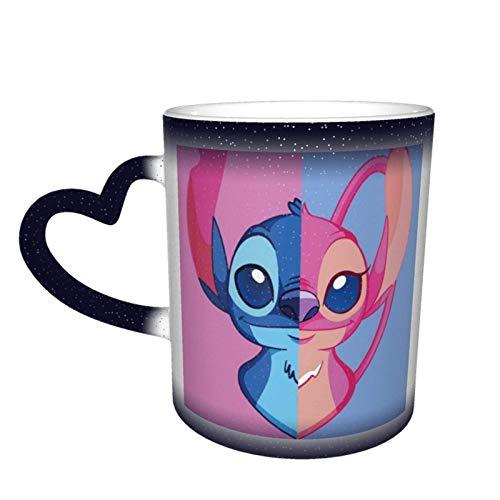 DJNGN Sti-tch Angel Taza de café para hombres, mujeres, niños, sensibles al calor, tazas que cambian de color, tazas de té de estrellas