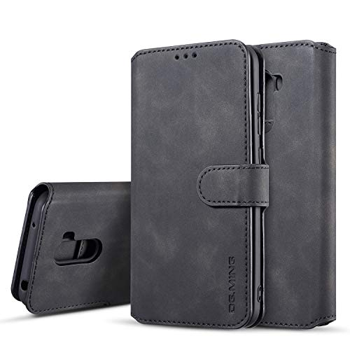 xinyunew Hülle Kompatibel mit Xiaomi Poco F1 Hülle, 360 Grad Handyhülle + Panzerglas Premium Handy Schutzhülle Leder Wallet Tasche Flip Brieftasche Etui Schale (Schwarz)