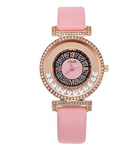 1 pieza de las mujeres de cuero de la PU pulsera reloj impermeable femenino relojes de cuarzo para señora mujer decoración muñeca accesorios