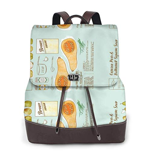 Womens Travel Backpack Butternut Squash Soup Leather Bags Purse