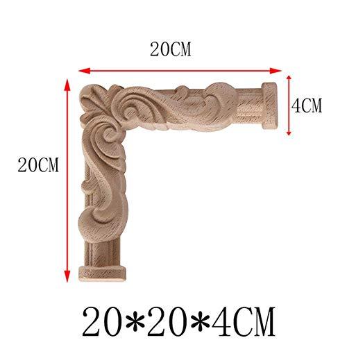 Hummla Holzleisten Holzapplikationen Holzabziehbild Onlay Unlackiert Geschnitzt Zier Lange Große Blätter Holzschrank Eckmöbel, A30-5