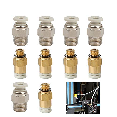 Creality Original 3D Printer Straight PC4-M6 Pneumatic Fitting Push to Connect + PC4-01 Quick in Fitting for CR-10,10S,S4,S5, CR-10S Pro,Ender 3,Ender 3 Pro Series Printer (Pack of 10)