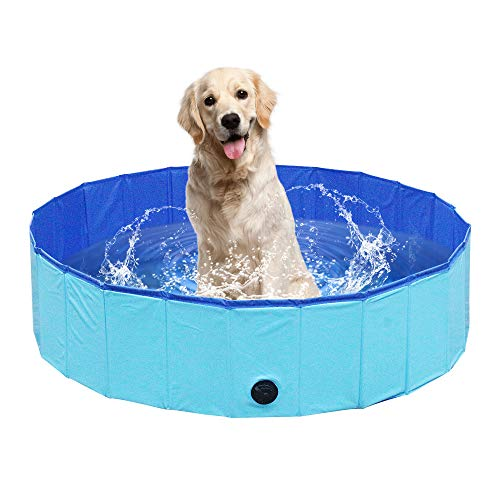 NHILES Portable Pet Dog Pool, Collapsible Bathing Tub, Indoor & Outdoor Foldable Leakproof Cat Dog Pet SPA for Dogs Cats and Kids