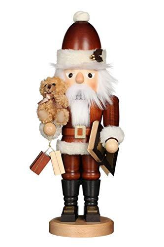 Christian Ulbricht Erzgebirge Nussknacker Weihnachtsmann mit Teddy nat