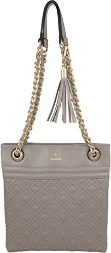 B BRENTANO Vegan PU Leather Quilted Shoulder Bag with Chain Strap & Tassel Accent Grey Size: One Size