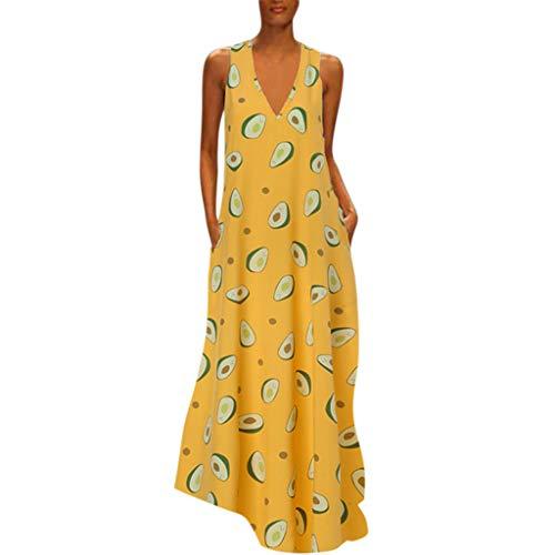 SMILEQ Vestido de Mujer Falda sin Mangas con Estampado Boho O-Cuello de...