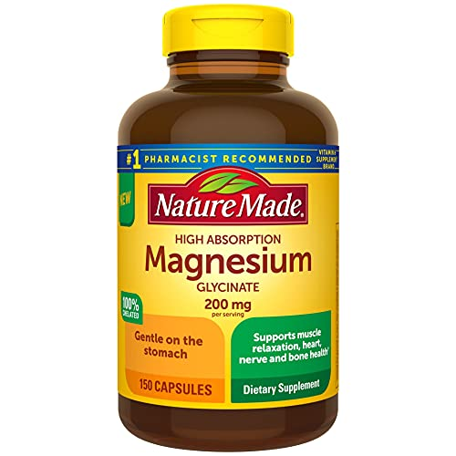 Nature Made High Absorption Magnesium Glycinate 200 mg, for Muscle Relaxation, Heart, Nerve and Bone Health, 150 Count