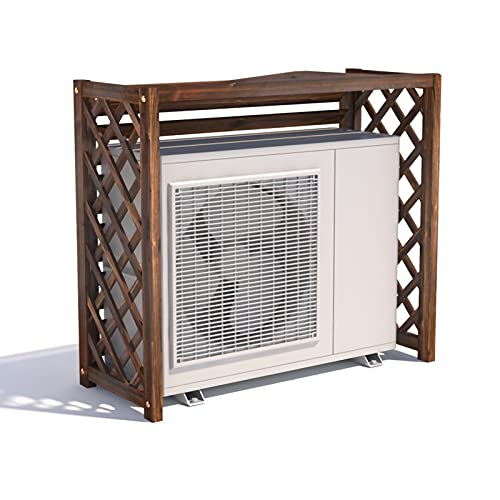 PTY Air Conditioner Fence Screen Outdoor Wooden Air Conditioner Bracket Solid Wood Air Conditioner Flower Bracket Louvered Anti-Corrosion Grid Wooden Air Conditioner Outdoor Cover