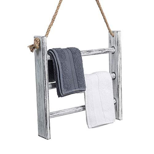 Rustikal Handtuchhalter für Bad | Badezimmer Handtuchhalter minimalistisches Design | Handtuchstange ohne bohren aus natürlichem Holz | 100% ECO | Made in EU (Handtuchhalter Juteseil)
