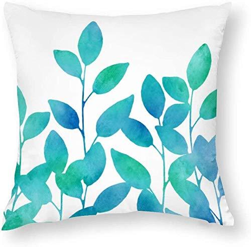 Aafndgsa - Fundas de cojín de 45 x 45 cm, diseño de hojas de acuarela, color azul turquesa
