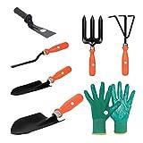 Kit Contents - 1 pc Scissor, 1 pc Pruner, 1 Pair Hand Gloves 1 Weeding Fork, 1 Cultivator, 1 Trowel, 1 pc Khurpi Ideal for Hobby Gardening, Kitchen Gardens