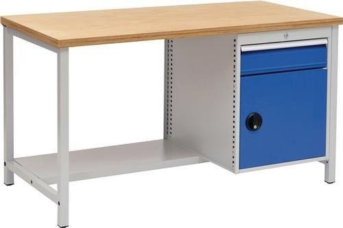 NORDWEST handel AG werkbank B1500xT750xH859 grijs/blauw lade 1x150 deur 1x450 40mm Multiplex