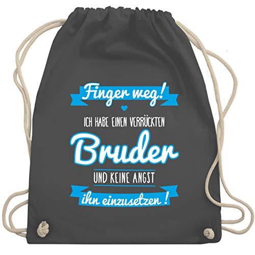 Shirtracer Sprüche Kind - Ich habe einen verrückten Bruder blau - Unisize - Dunkelgrau - Geschenk - WM110 - Turnbeutel und Stoffbeutel aus Baumwolle