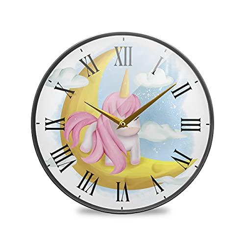 Arte Unicornio Luna Rosa Arte Reloj de Pared Silencioso Decorativo Relojs para Niños Niñas Cocina Hogar Oficina Escuela Decoración