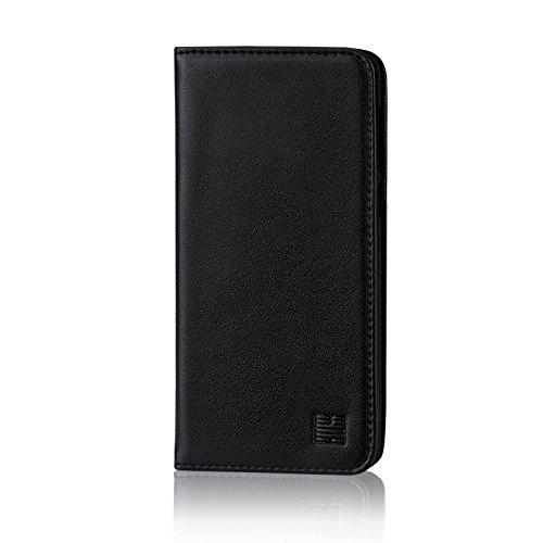 32nd Klassieke Serie - Echt Lederen Book Portemonnee Flip Hoesje Cover voor Huawei P10 Lite, Echt Lederen Ontwerp Met Kaartsleuf, Magnetische Sluiting en Ingebouwde Standaard - Zwart