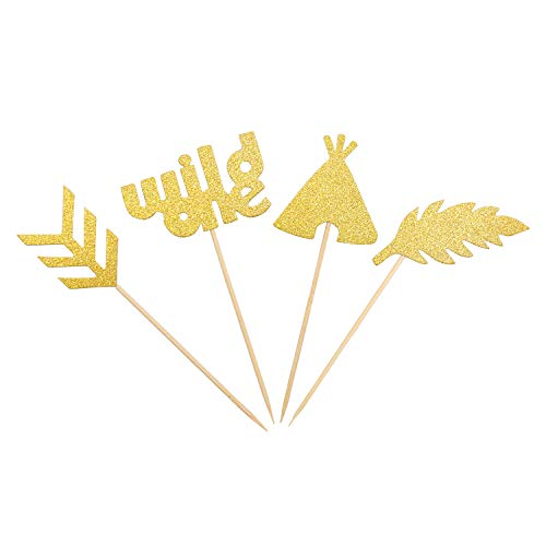 NiceLife Wild One Cupcake Toppers Feather Arrow Teepee Boho Tribal Theme Party Cake Decor (Gold)