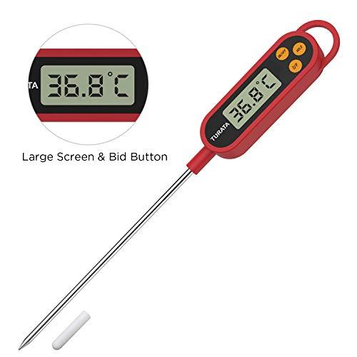 TURATA Einstichthermometer Digitales Grillthermometer Küchenthermometer Fleischthermometer, Lange Sonde aus 304 Edelstahl, Große LCD Anzeige für Braten Kochen Grillen/BBQ Backen Baby Ernährung