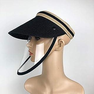 フェイスマスク Xingchen Anti-Salivaスプラッシュ防止防止防止防止防止防止石油保護キャップマスク取り外し可能な顔シールド空の上の太陽の帽子、サイズ:大人 (Color : Black)